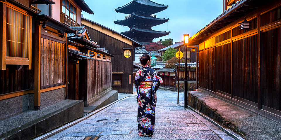 Lady in Kimono in Japan